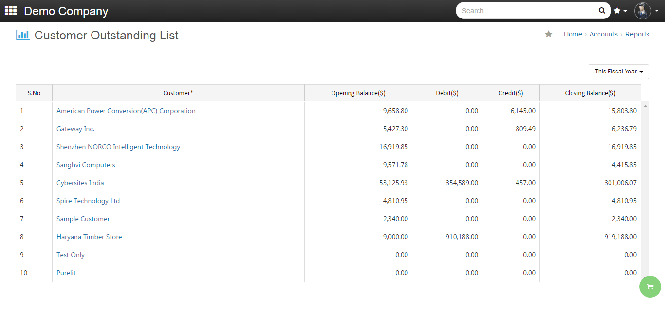 onclouderp Customer outstanding list