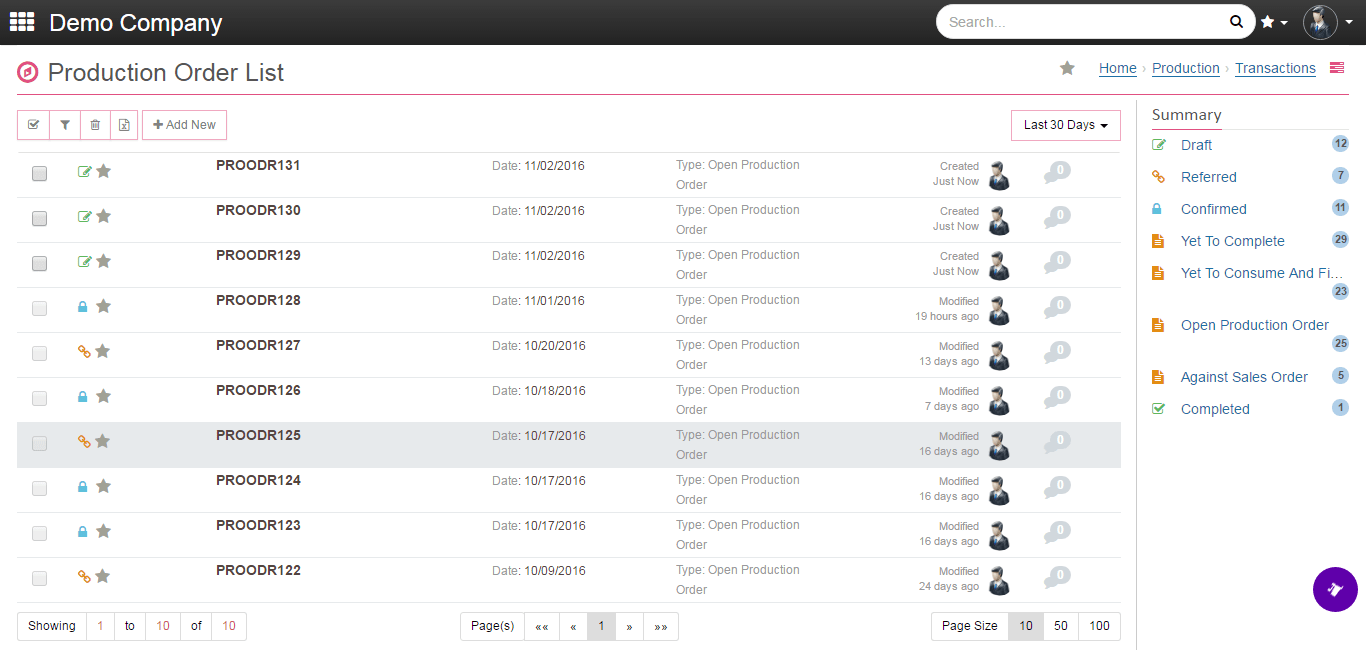 onclouderp production order list